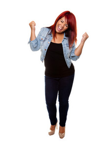 Young woman proudly cheering after weight loss isolated on a white background.