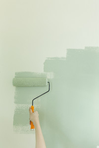 Young woman self painted wall with paint roller