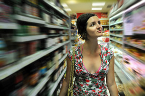 Young woman shopping in market
