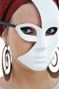 Young woman wearing mask