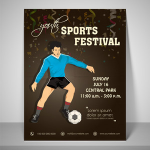 Youth sport festival flyer with a boy playing soccer with address bar place holder and mailer.