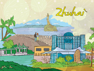 Zhuhai Doodles Vector Illustration