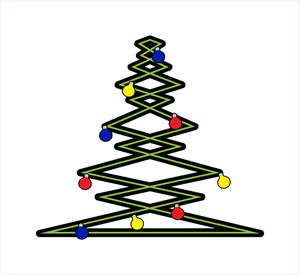 Zig Zag Christmas Tree With Decorative Balls