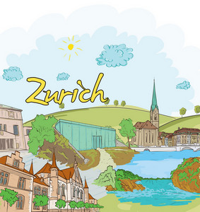 Zurich Doodles Vector Illustration