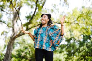 African American woman dancing
