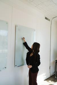 Asian woman conducting business