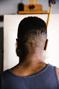 Back of a black man's head