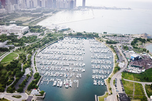 birdeye view of a marina