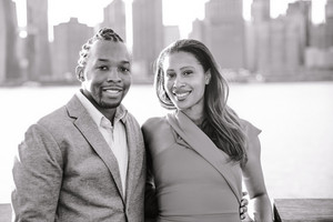 Black and white image of Black couple