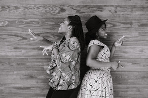 Black and white photo of black women dancing