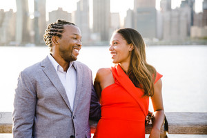 black couple looks at one another lovingly