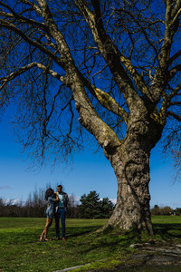 Black couple take engagement pictures by a large tree