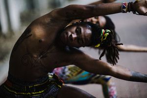 black man doing yoga