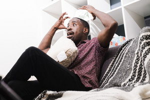 Black man frustrated in therapy session