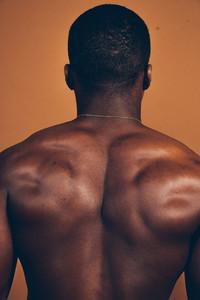 Black mans muscular back