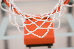 close image of a basketball hoop