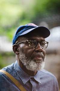 close up of a bearded older black man