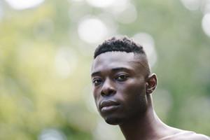 closeup of black man's face