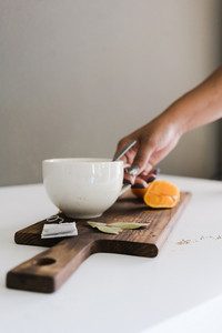 cup of tea with orange slice