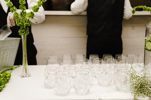 empty vases as decor on a wedding table