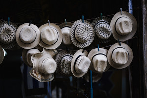 hats on display in the streets