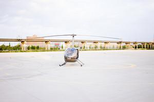 Helicopter on helipad