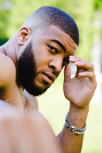 man outside thinking