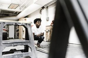 Mixed race man engineering