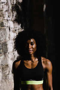 Natural haired black muscular woman