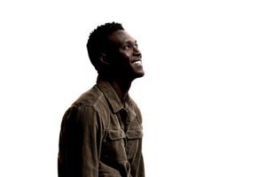 side profile of black man smiling