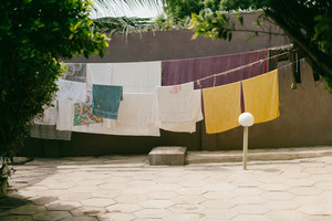 Towels hanging to dry in Ghana