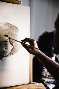 watercolor painting of a Black woman
