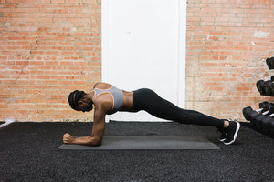 woman in a plank position