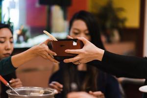 Women eating Taiwanese food