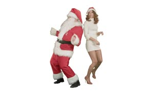 Christmas girl with santa claus dance on white background