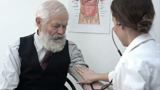 Doctor measuring blood pressure of male patient.