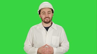 Engineer or architect showing like gesture on a Green Screen, Chroma Key