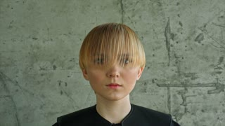 Fashion Blonde Woman Portrait. Blond Hair. Hairstyle. Haircut. Makeup
