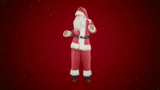 Happy Christmas Santa Claus having fun and dancing on red background with snow