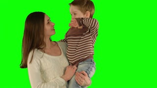 Happy family having fun on a Green Screen