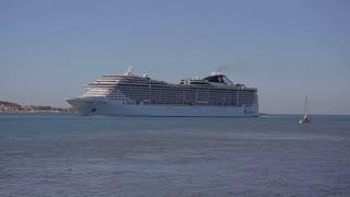 Lisbon, Portugal - September 2015: Big Cruising ship of the MSC at tejo river