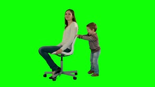 Lovely portrait of a mother and son on a Green Screen
