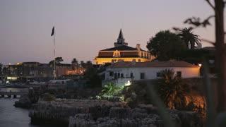 Night landscape of cascais lisbon  rivera portugal with marina in Praia dos Pescadores, albatros building