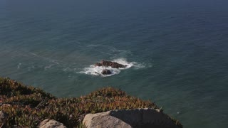 Rocks and cliffs at Cabo da Roca Portugal stormy weather