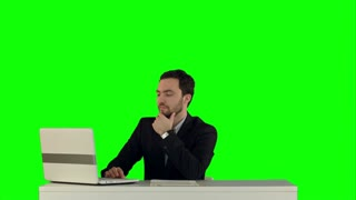 Secretary standing in the office presenting a document to her boss on a Green Screen
