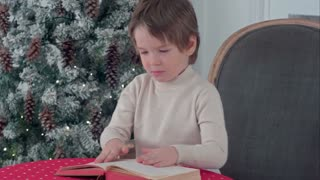 Serious little boy exploring a book on Christmas eve