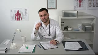 Terrible ominous causes doctor talking to camera with a lot of gestures