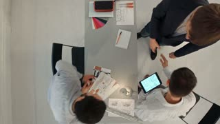 Timelapse Business People Colleagues Teamwork Meeting Seminar Conference Concept. Top view