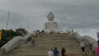 A lot of turists take photos near monument of Big Buddha in Chalong Phuket Thailand