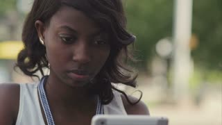 African american woman using her tablet